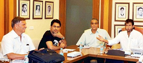 MS Dhoni with the India selectors