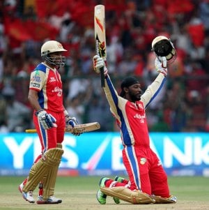 Chris Gayle after scoring his 100 against PWI-Fastest Centuries in T20 Cricket