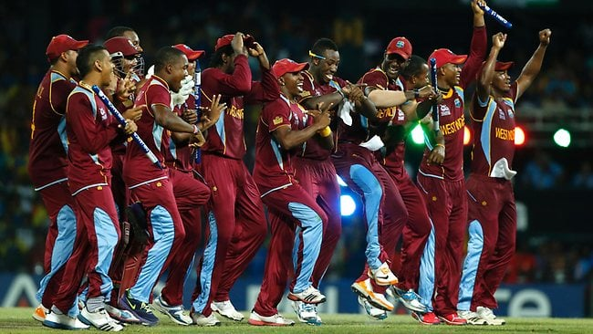 West Indies Players Celebrate after winning the World T20.  ICC Champions Trophy Team Preview - WEST INDIES