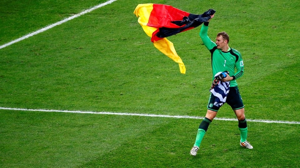 Manuel Neuer in electric mode as he celbrates the German victory